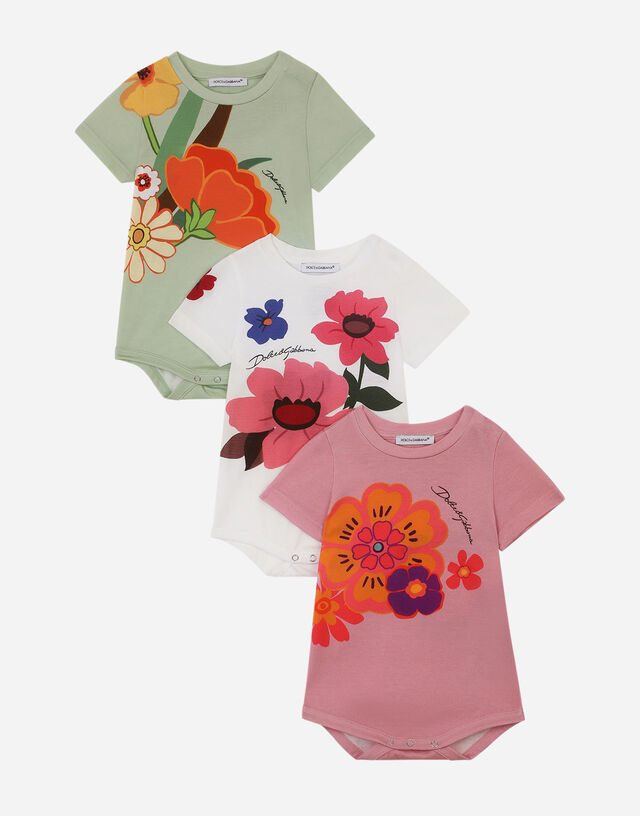 Gift set with 3 babygrows in floral-print jersey in Multicolor