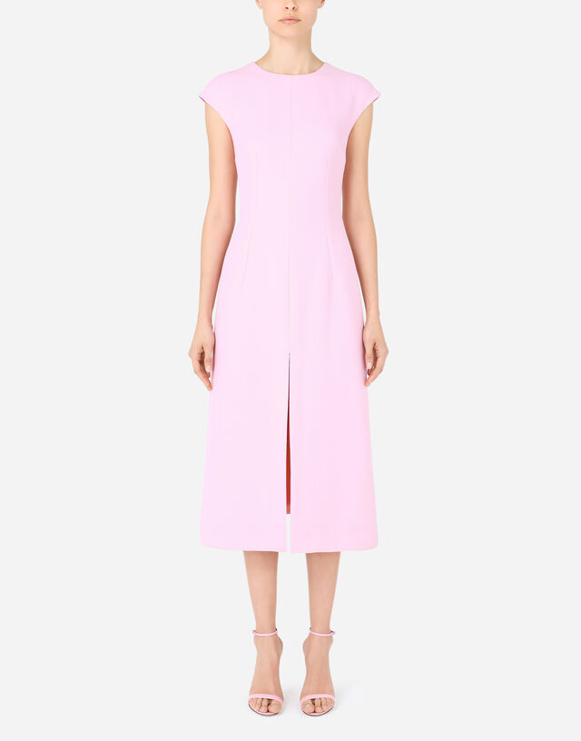 Crepe calf-length dress with slit in Pink