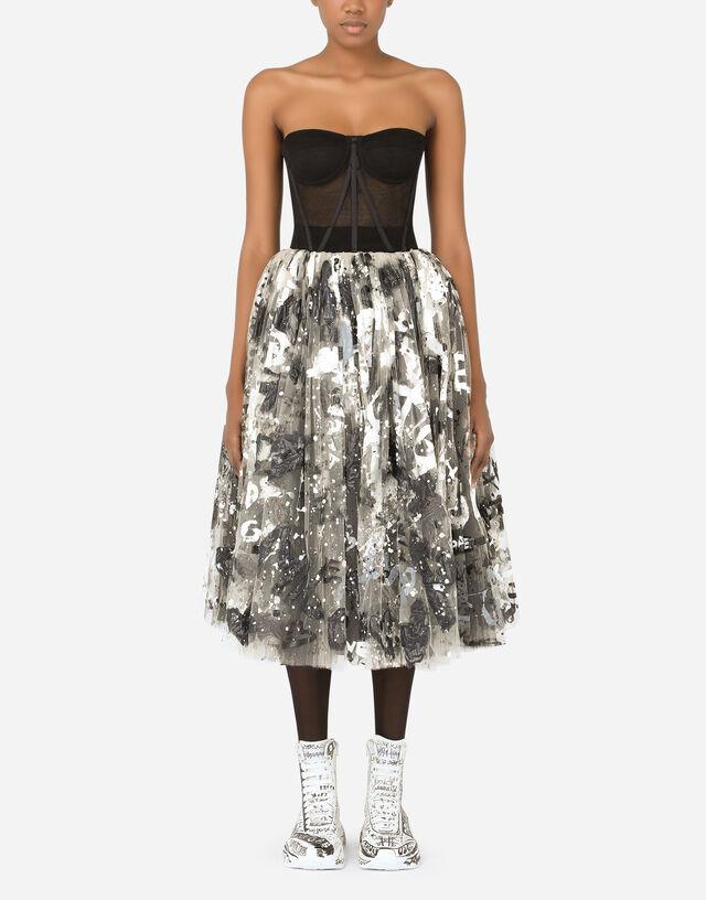 50s-style tulle midi dress with DG graffiti print in Multicolor