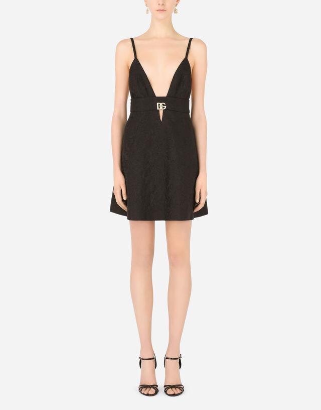 Short ornamental jacquard dress with crystal DG embellishment in Black