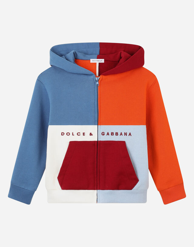 Jersey hoodie with embroidered logo patch in Multicolor
