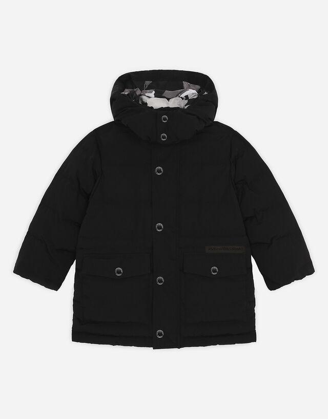 Long nylon down jacket in Black