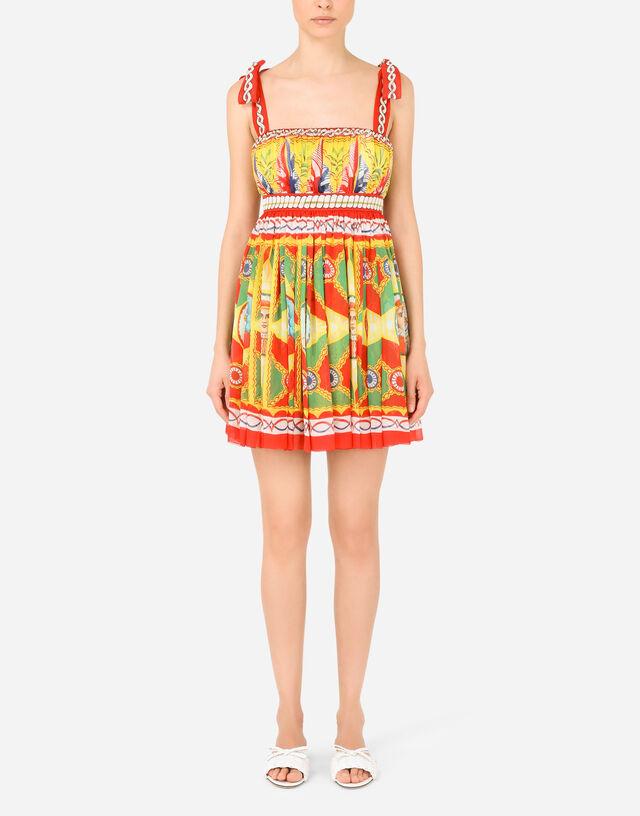 Short Carretto-print chiffon dress in Multicolor