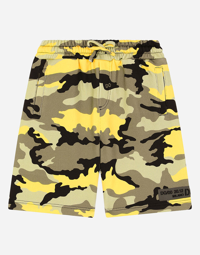 Jersey bermuda shorts with camouflage print in Multicolor