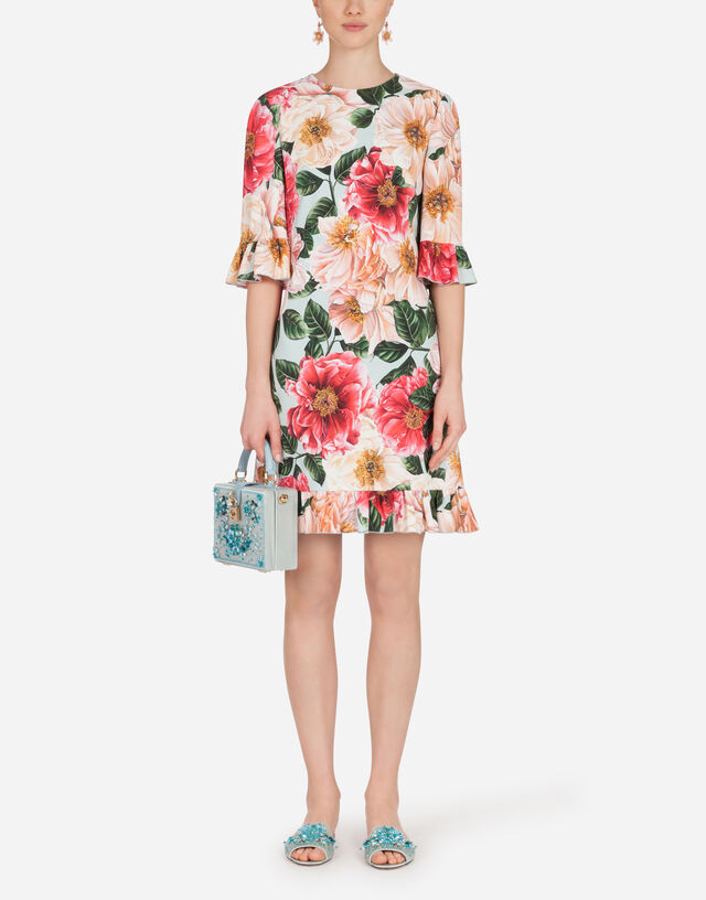 Short camellia-print cady dress with ruffle detailing in FLORAL PRINT