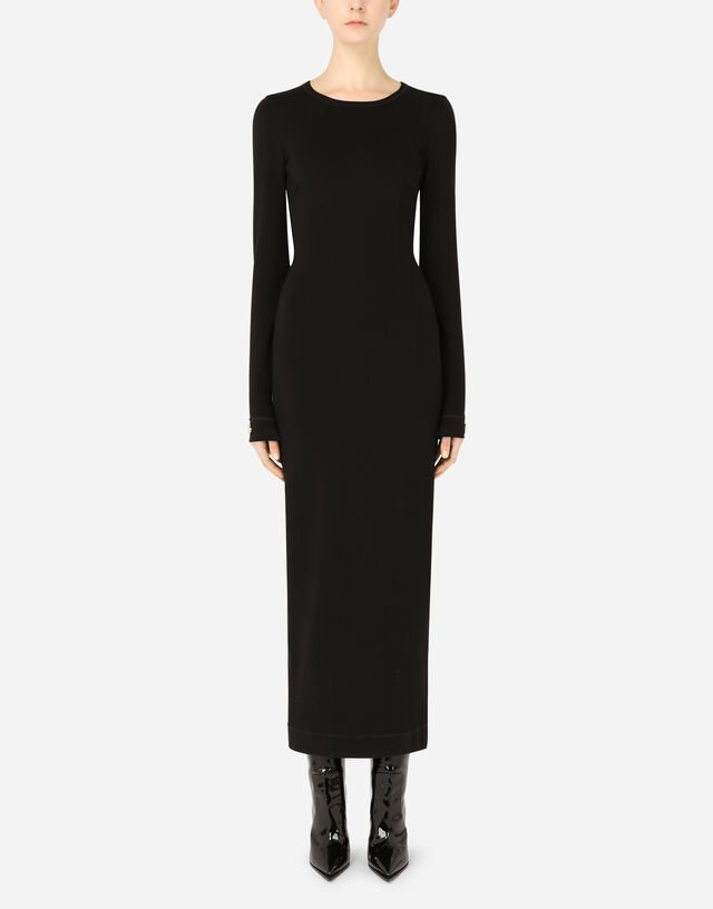 Long-sleeved jersey calf-length dress with DG embellishment in Black