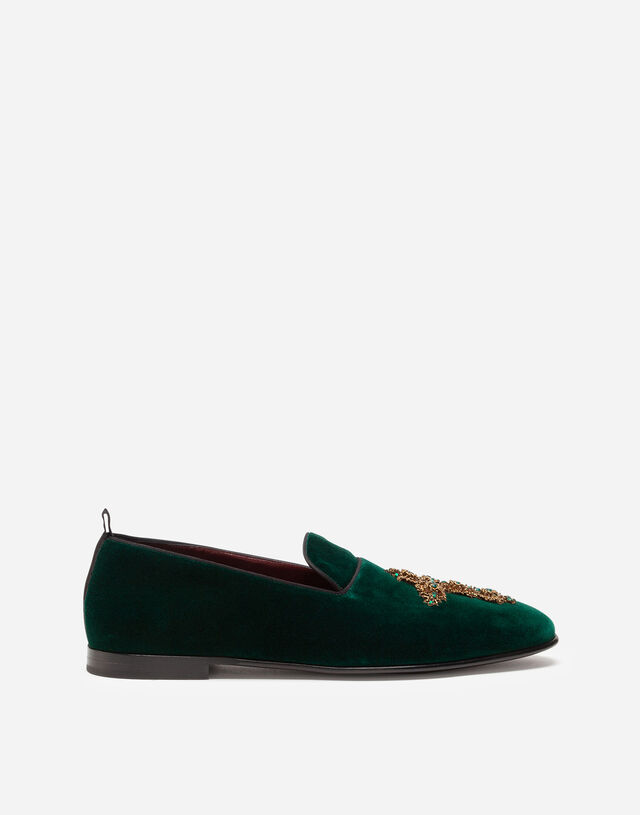 Velvet slippers with embroidery in GREEN