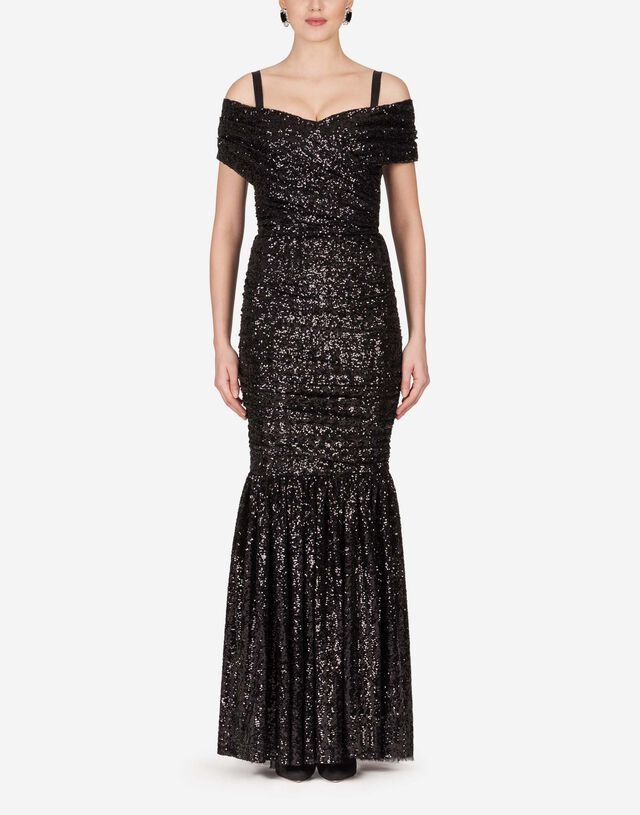 Long sequined dress in BLACK