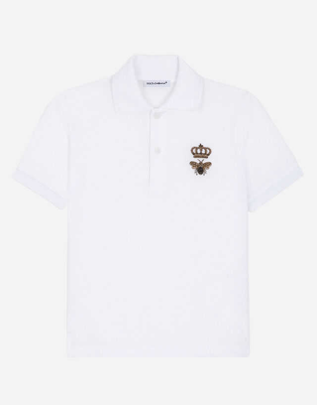 Piqué polo shirt with bee and crown embellishment in White
