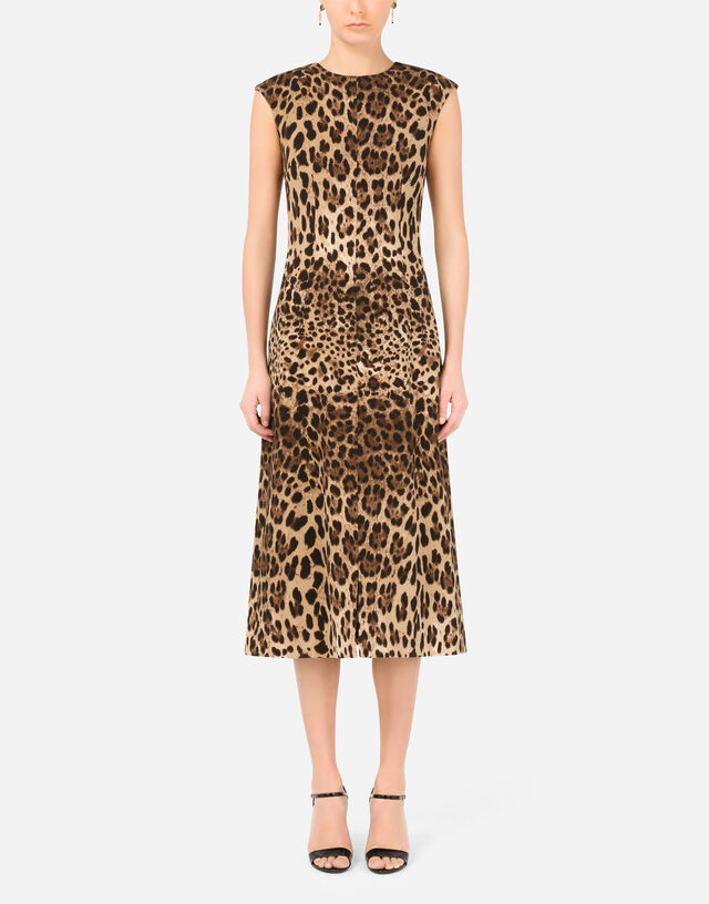 Leopard-print crepe calf-length dress with slit in Multicolor