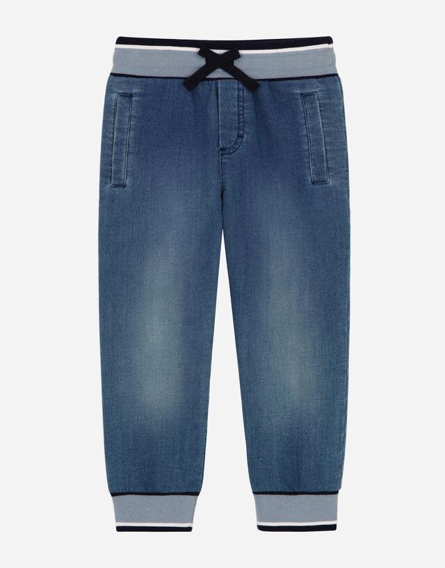 Jersey denim jogging pants in Azure