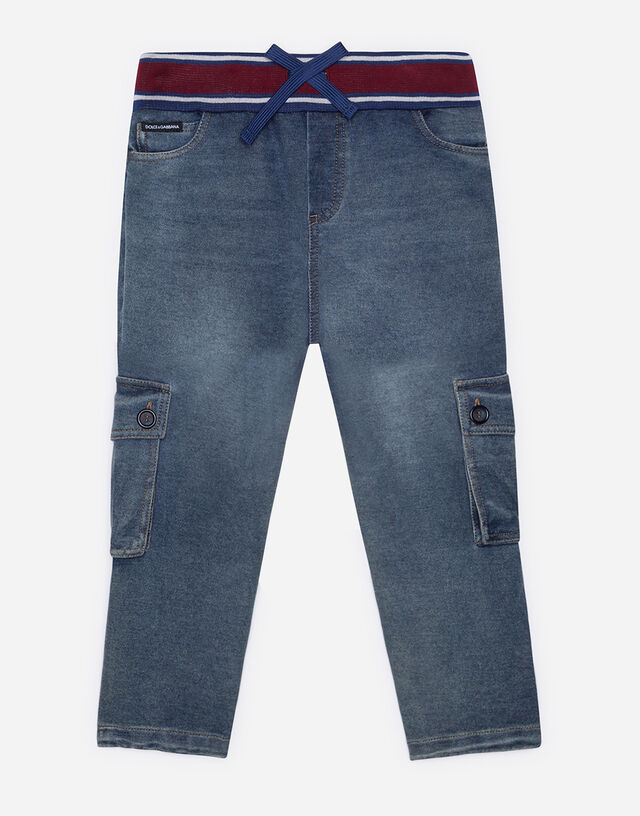 Jersey cargo pants in washed denim in Grey