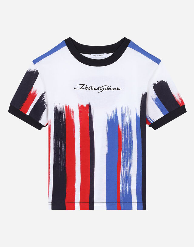 Jersey t-shirt with pictorial striped print in Multicolor