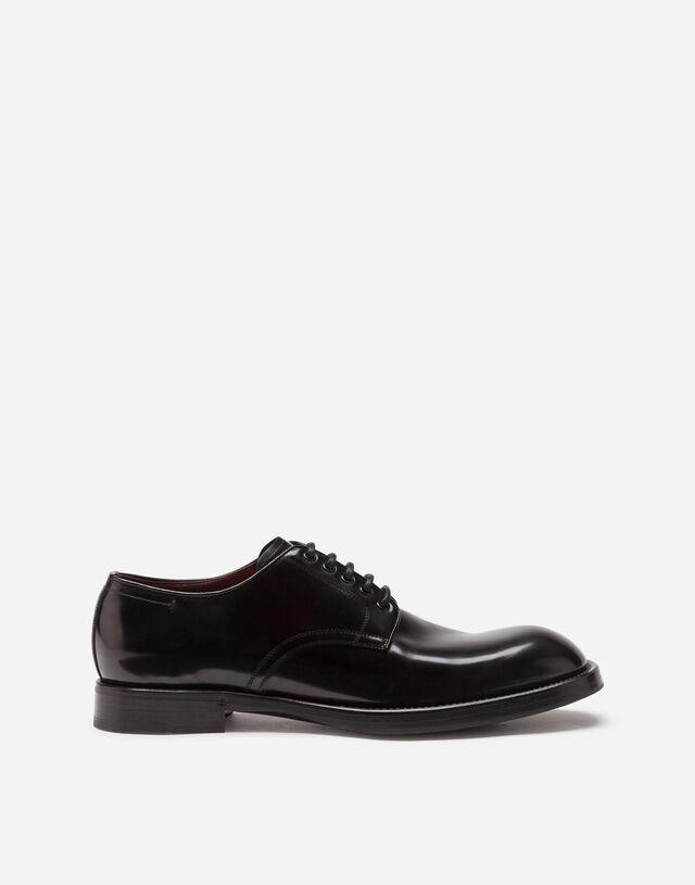Brushed calfskin derby shoes in BLACK