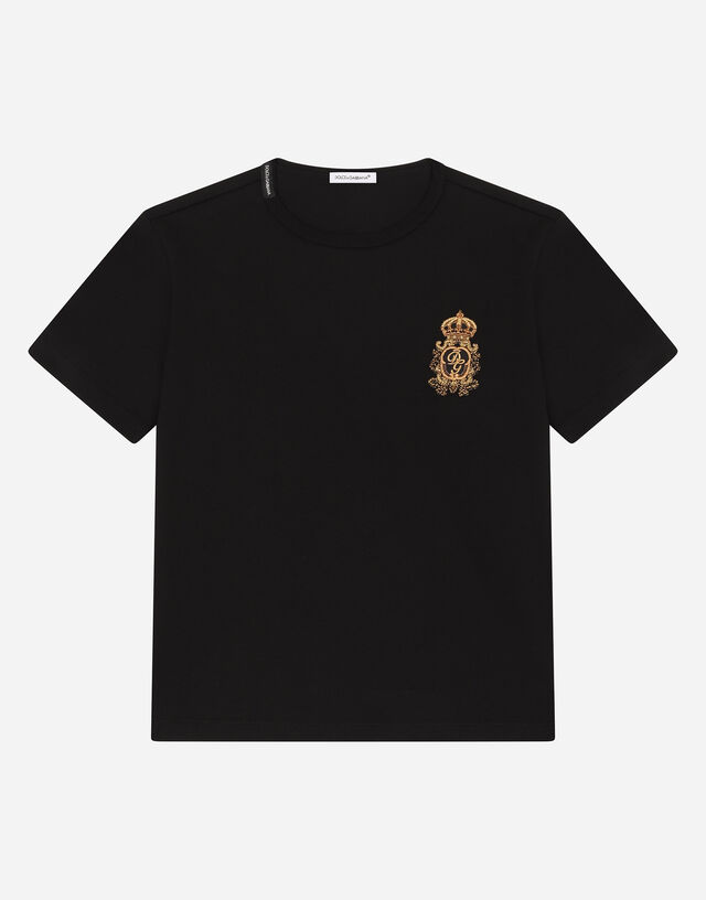 Jersey T-shirt with heraldic DG patch in Black