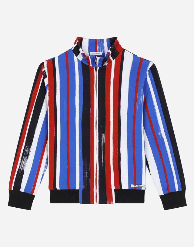 Zip-up jersey sweatshirt with brushstroke stripe print in Multicolor