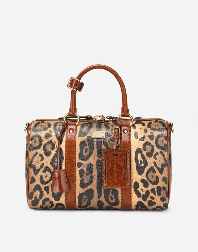 Leopard-print Crespo handbag with branded plate in Multicolor