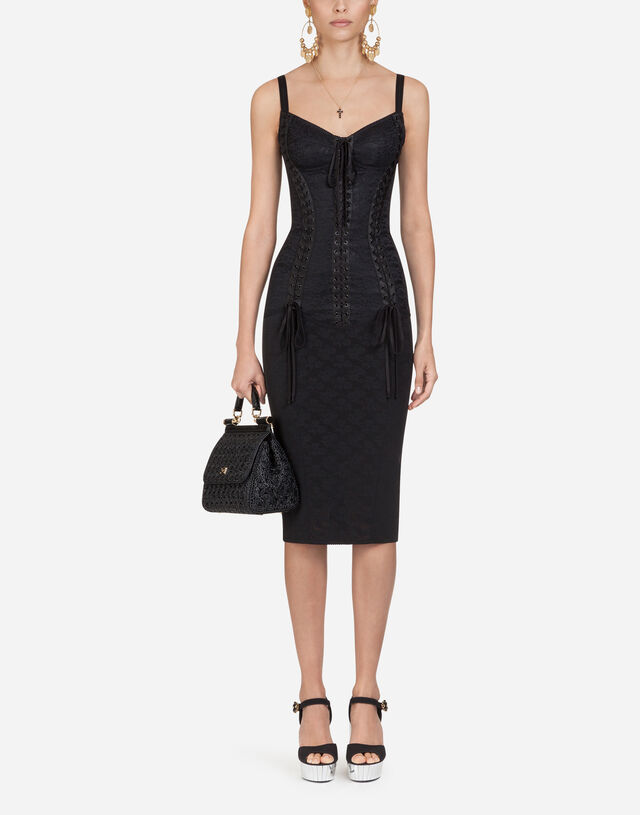 Jacquard and lace bustier dress in Black