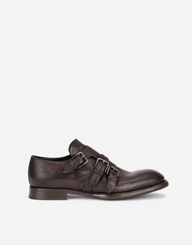 Horse calfskin monk strap shoes in Brown