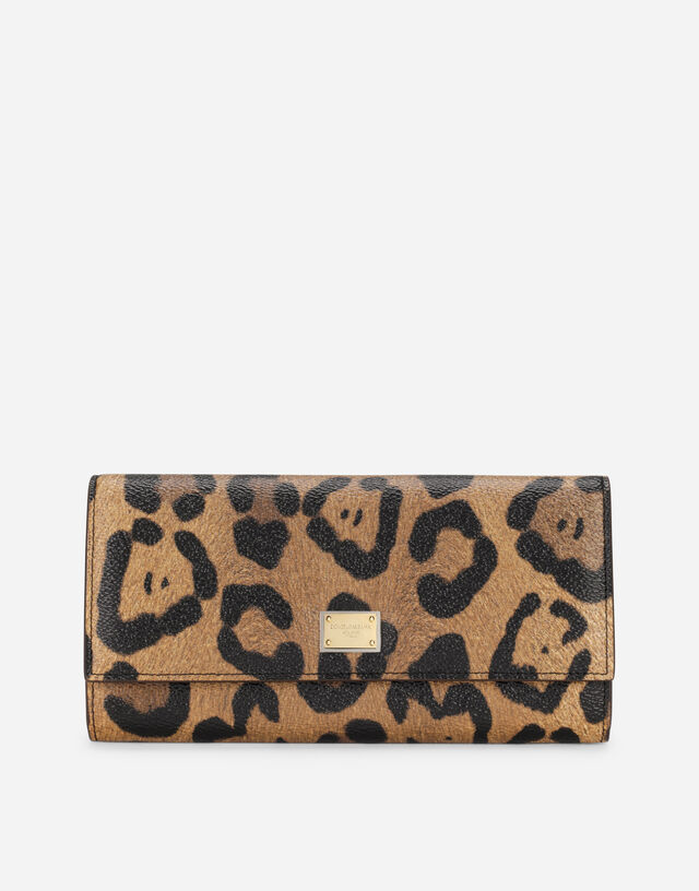 Leopard-print Crespo continental wallet with branded plate in Multicolor