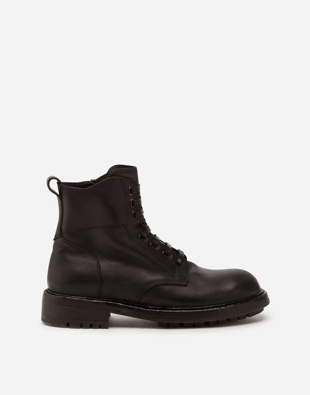 Cowhide lace-up ankle boots in BLACK