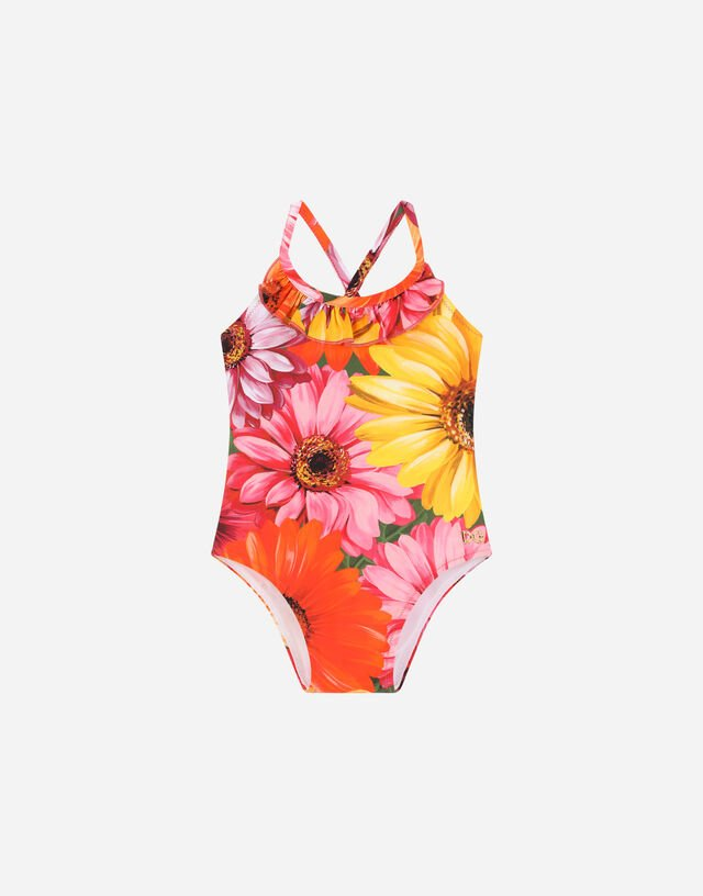 One-piece swimsuit with gerbera-daisy print in Multicolor