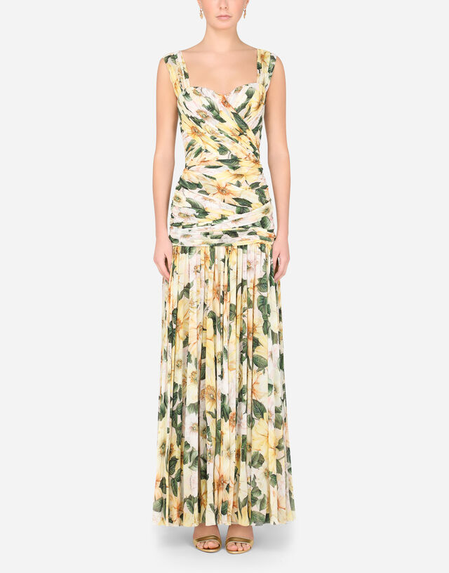 Long camellia-print georgette dress with draping in MULTICOLOR
