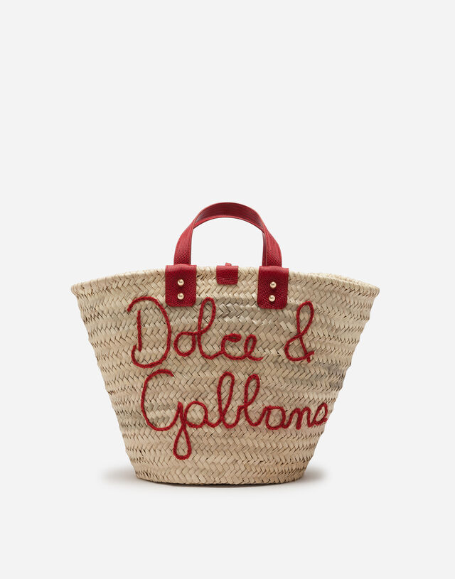 Kendra coffa bag in straw with thread embroidery in RED