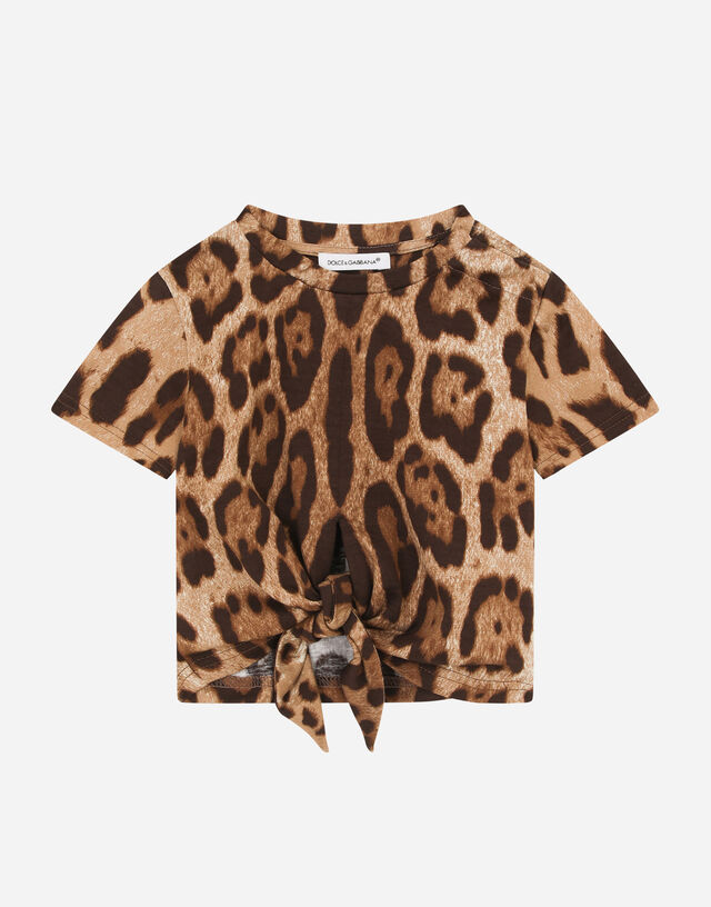 Jersey T-shirt with leopard print in Multicolor