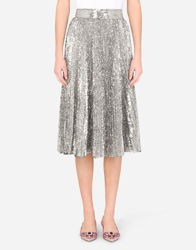 Pleated midi skirt with mini-sequins in BLUE