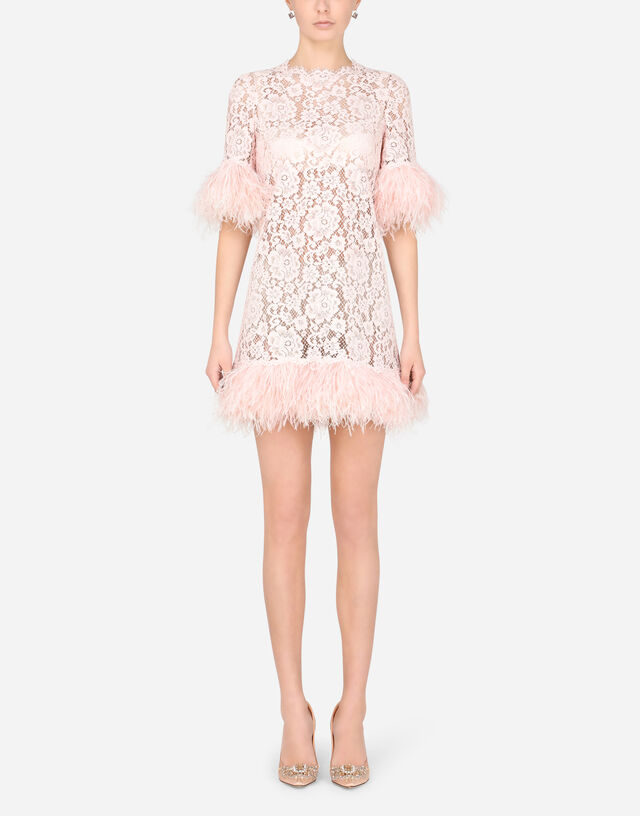 Short lace dress with marabou trim in PINK