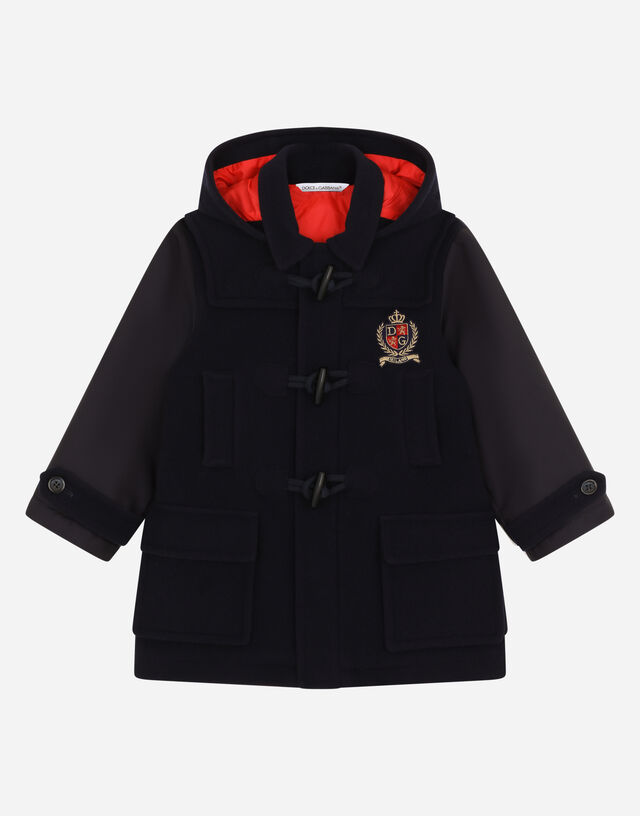Cordura and baize duffel coat with logo patch in Blue