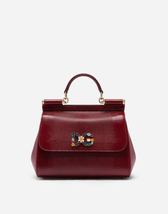 Medium calfskin Sicily bag with iguana print and DG crystal logo patch in RED