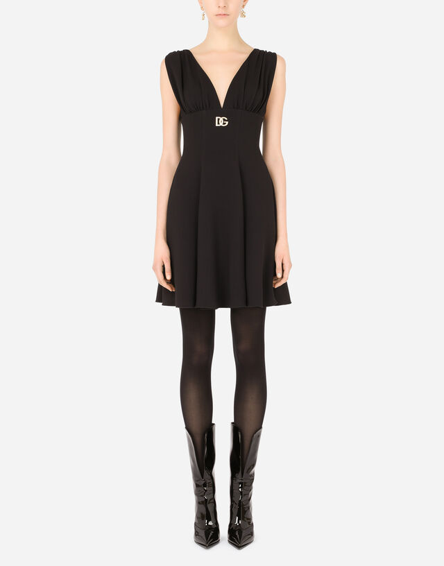 Short cady dress with crystal DG embellishment in Black