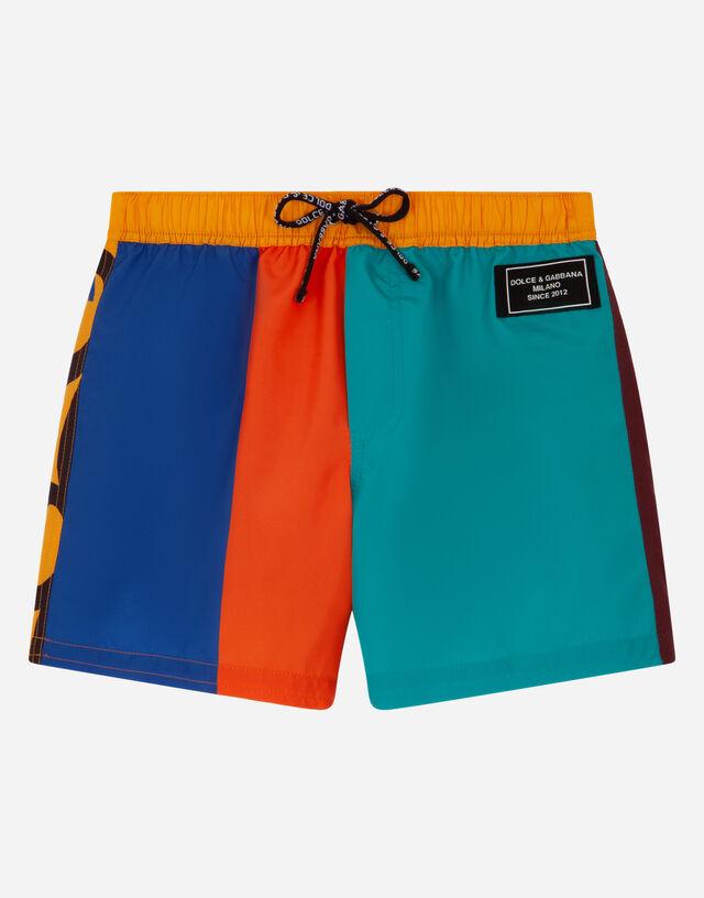 Nylon color-block swim trunks in Multicolor