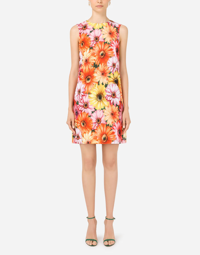 Short cady A-line dress with gerbera-daisy print in Multicolor
