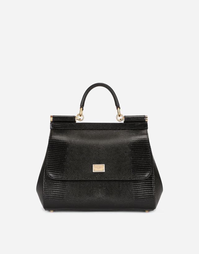 Medium Sicily bag in iguana-print calfskin in Black