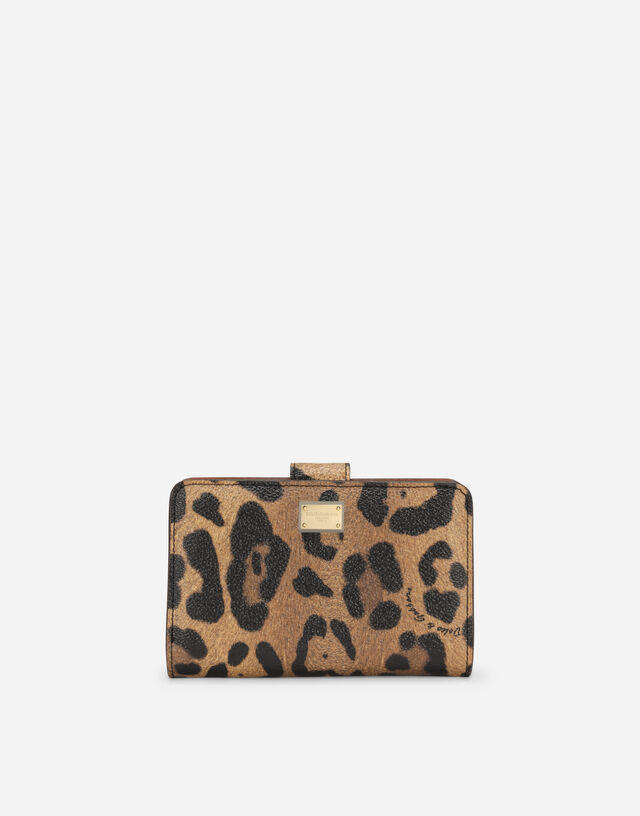 Small continental wallet in leopard-print Crespo with branded plate in Multicolor