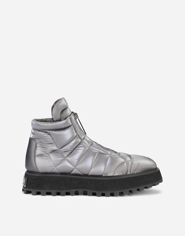 Metallic nylon ankle boots with branded plate in Grey