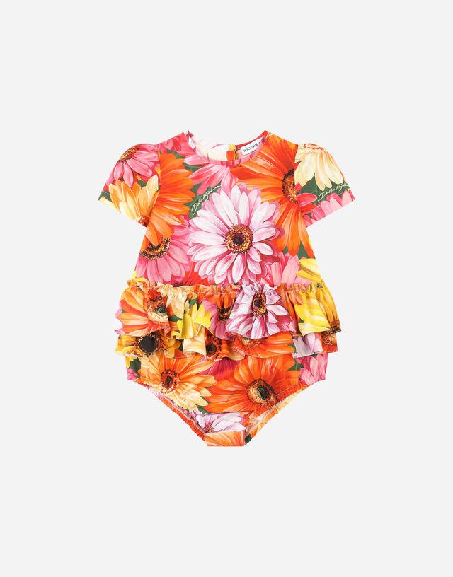 Poplin romper suit with gerbera-daisy print in Multicolor