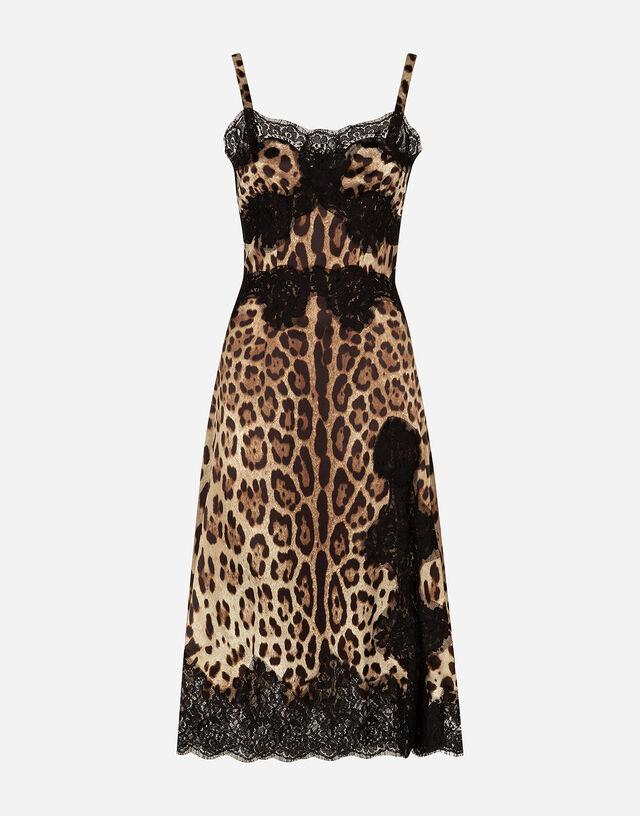 Leopard-print satin slip dress in ANIMAL PRINT