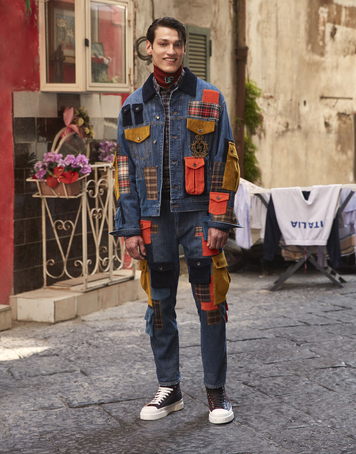 Stretch denim jacket with multiple pockets and patch