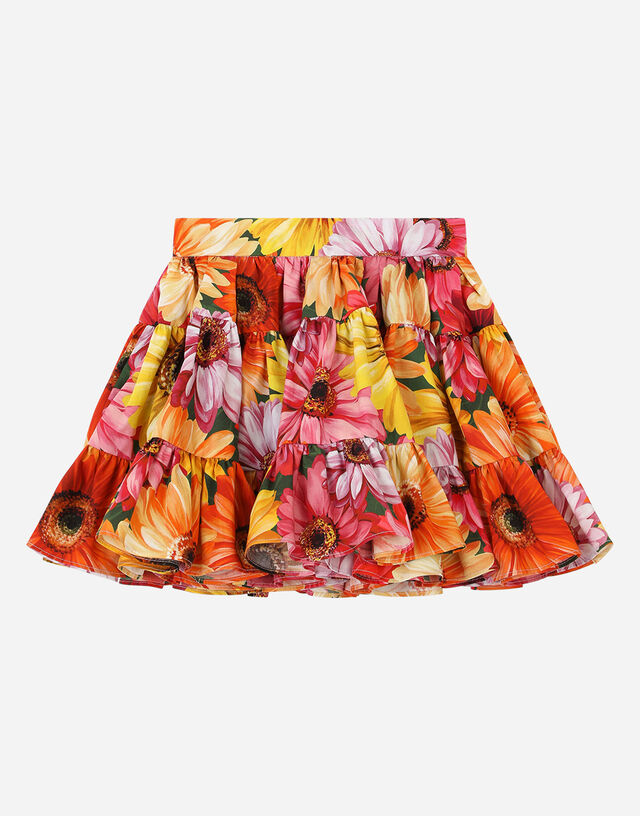 Poplin midi skirt with gerbera-daisy print in Multicolor