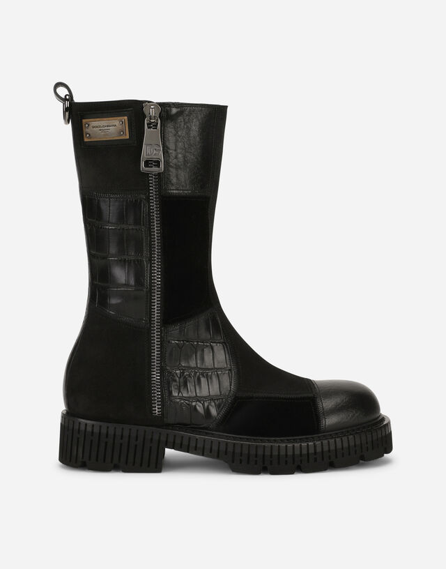 Mixed-materials boots with extra-light sole in Black