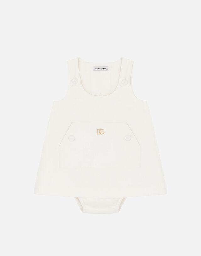 Short jersey jacquard dress in White