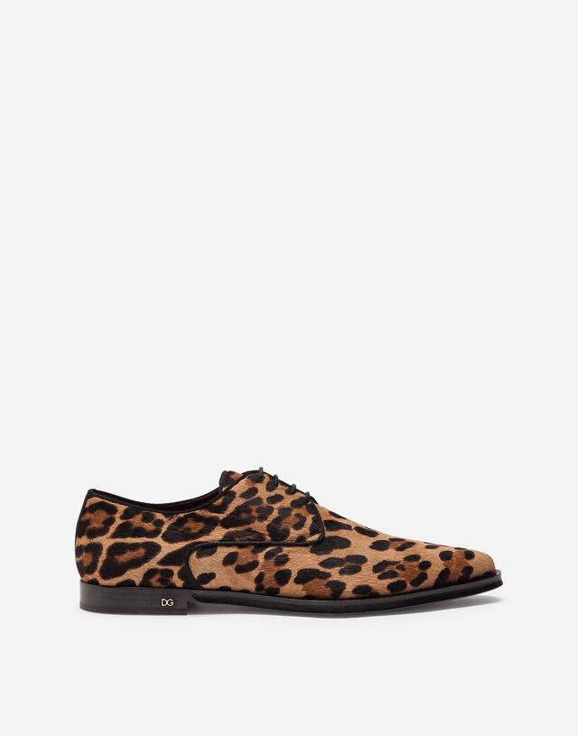 Leopard-print pony hair derby shoes in LEOPARD PRINT
