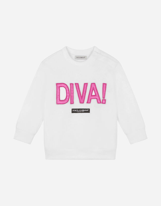 Jersey sweatshirt with diva patch in White