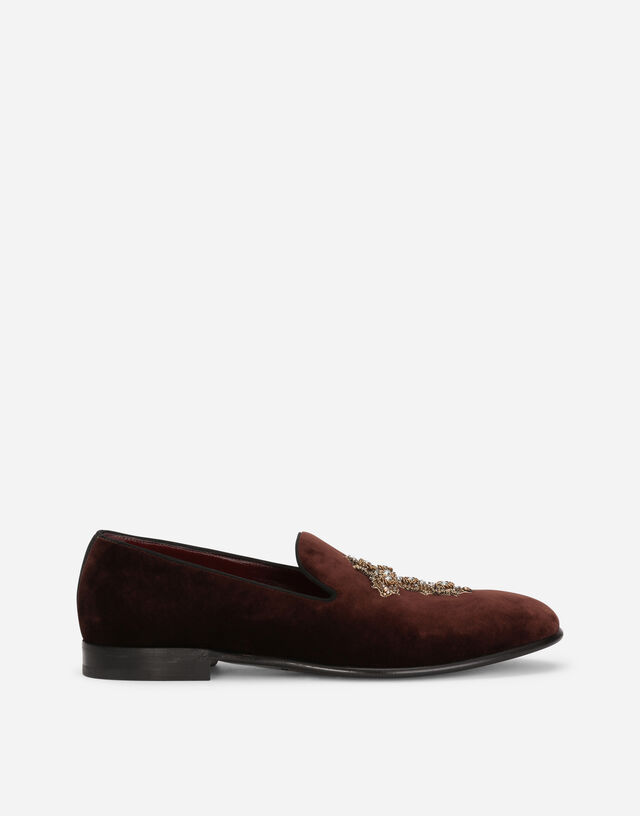 Velvet slip-on shoes with cross embroidery in BORDEAUX/GOLD