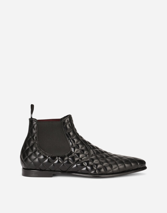 Quilted calfskin Chelsea boots in Black