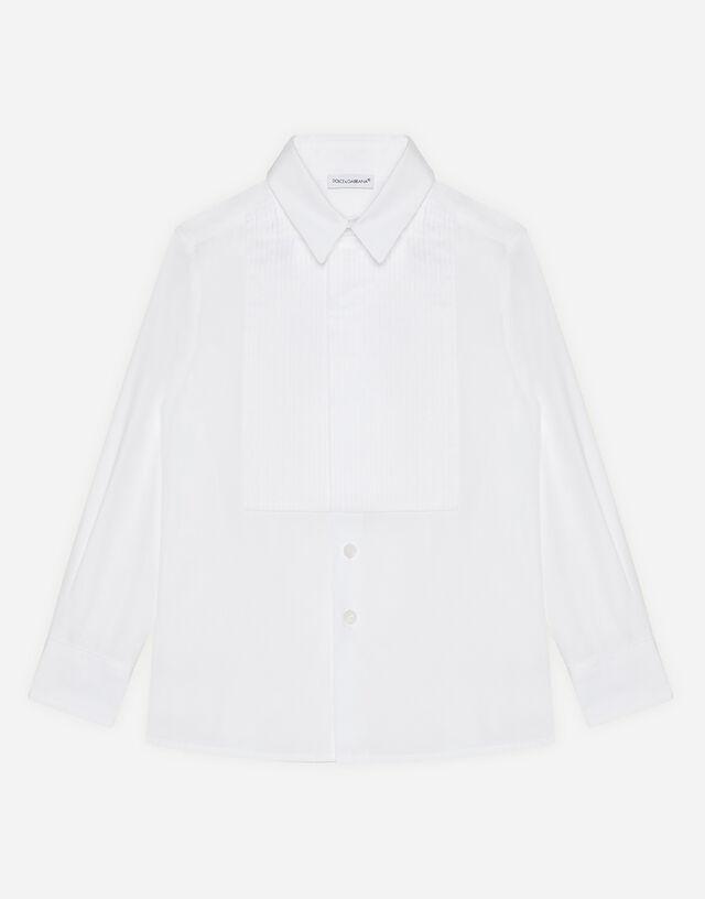 Poplin shirt with plastron in White